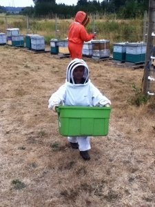 Our Grandson is always wanting to go beekeeping with Grandpa.  He has been going with Grandpa periodically since he was about four.